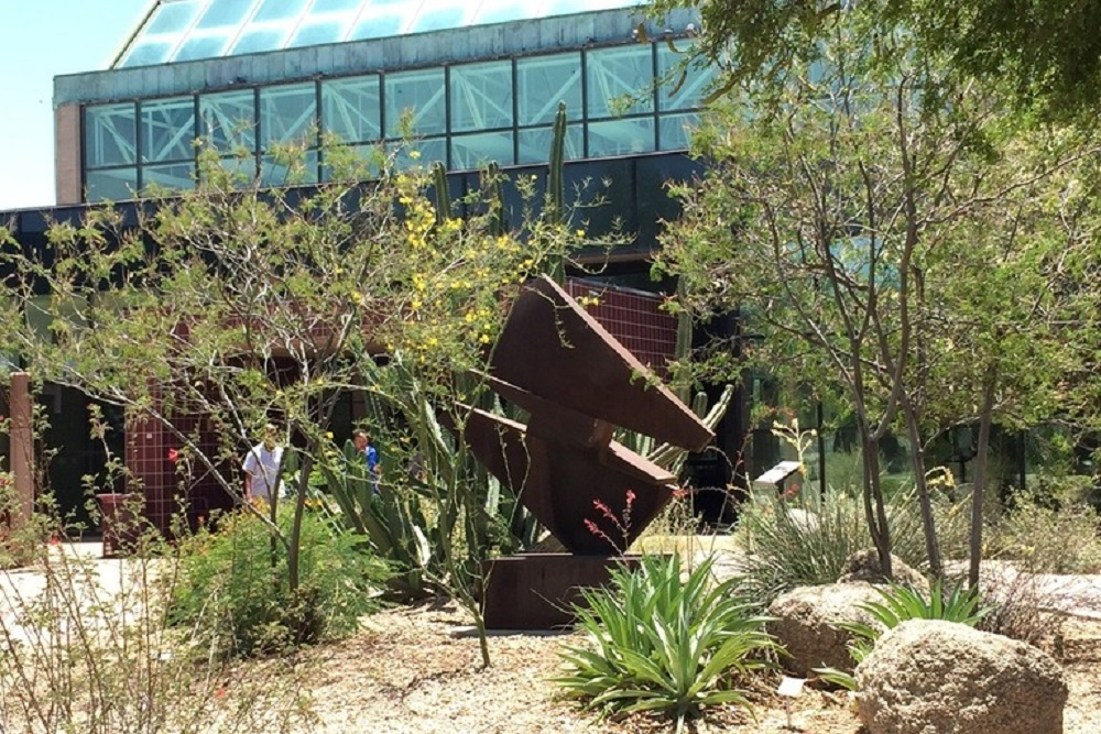 Outdoor sculpture by artist Michael Anderson in the Xeriscape Garden near the front entrance of Glendale Public Library