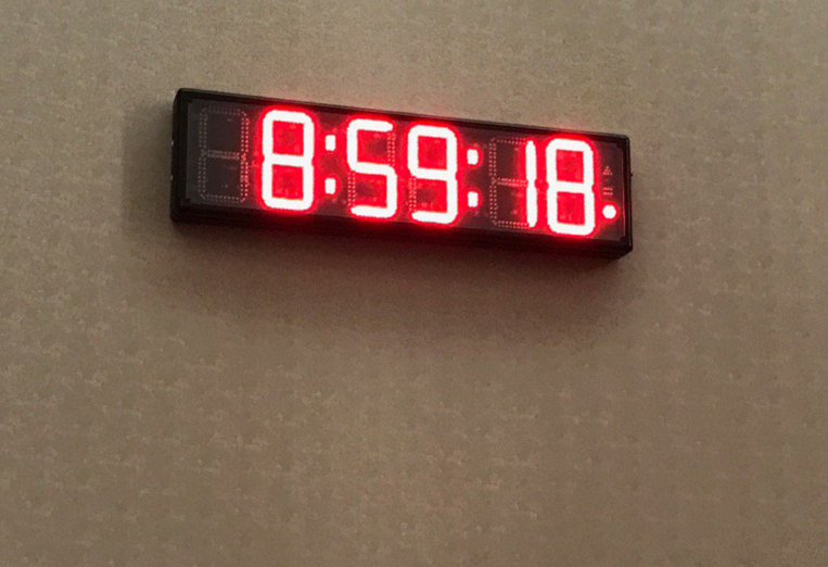 A digital clock on the wall of the council chambers will time public comment at Council meetings.