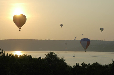 The Central Texas Ballooning Association has an annual flyover on Lake Travis.