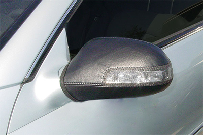 Side mirror bras protect the paint job in the same way as more familiar front-end bras on cars.