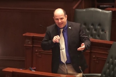 Illinois State House Rep. Mark Batinick (R-Plainfield) on the House floor
