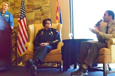 Maricopa County Sheriff Paul Penzone discusses his approach to law enforcement with Phoenix Police Chief Jeri Williams and moderator Sarah Strunk of Fennemore Craig during a Greater Phoenix Chamber of Commerce Premier Leadership Series event.