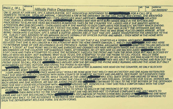 In this 2002 Village of Hillside police report, State Rep. Chris Welch was accused of beating his then girlfriend. House Speaker Michael Madigan recruited him to run for state representative a decade later.