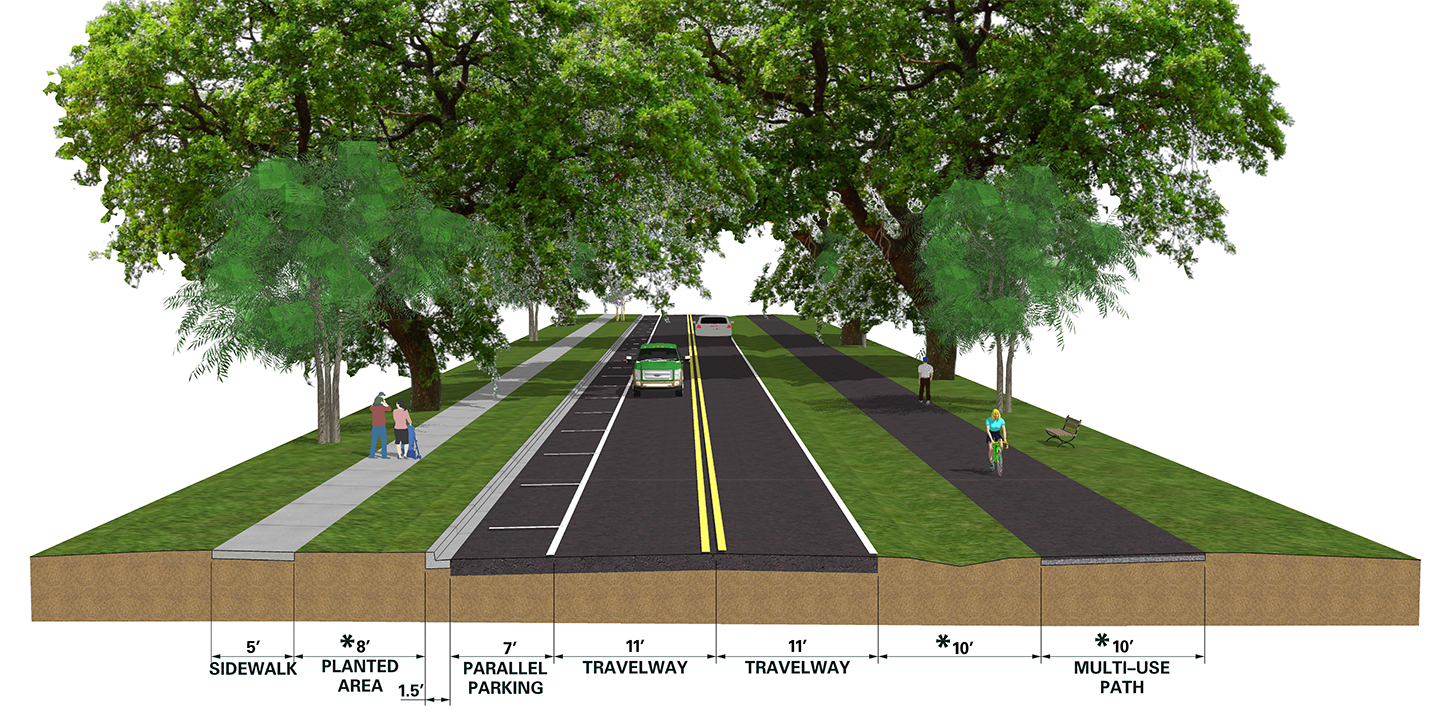 A rendering shows how a section of road on the new