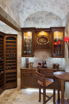 A small wine cellar can be pretty and functional.