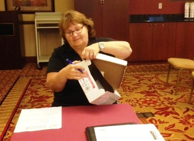 Rite Aid employee Dorothy Wolf helped count ballots.