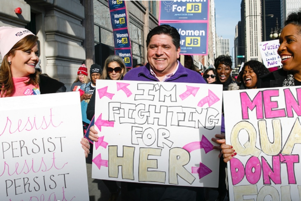 Gov. J.B. Pritzker during a march on the campaign trail before November's election