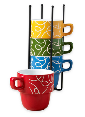 Tabletops Gallery Esto 5-Piece Stacking Mug SetTabletops Gallery Esto 5-Piece Stacking Mug Set