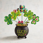 St. Patrick's Day Glittered Lucky Pot O' Shamrocks
