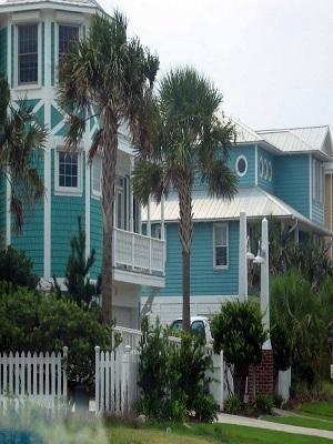 Teal colored houses carolina beach nc