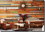 Pieces of reclaimed wood make an interesting and eye-catching accent wall.