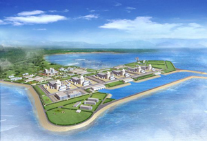 An artist's rendering of the Haiyang Nuclear Power Plant under construction in China.