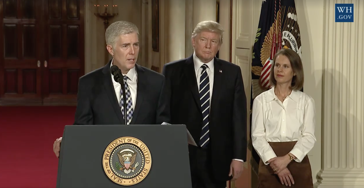 President Trump nominates federal appeals court Judge Neil Gorsuch to the U.S. Supreme Court