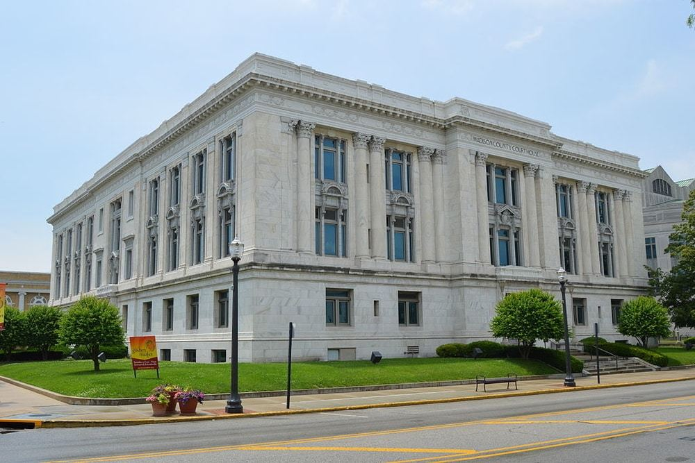 Madison County Courthouse in Edwardsville, Illinois, a city in which residents will pay an estimated $12.6M in additional income taxes this year.