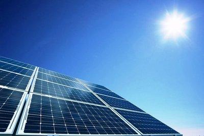 Medium solar panels lookg up sun sky