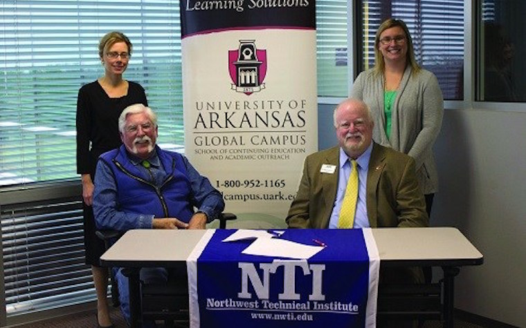 The University of Arkansas Global Campus partnered with Northwest Technical Institute and Mid-America Truck Driving School.