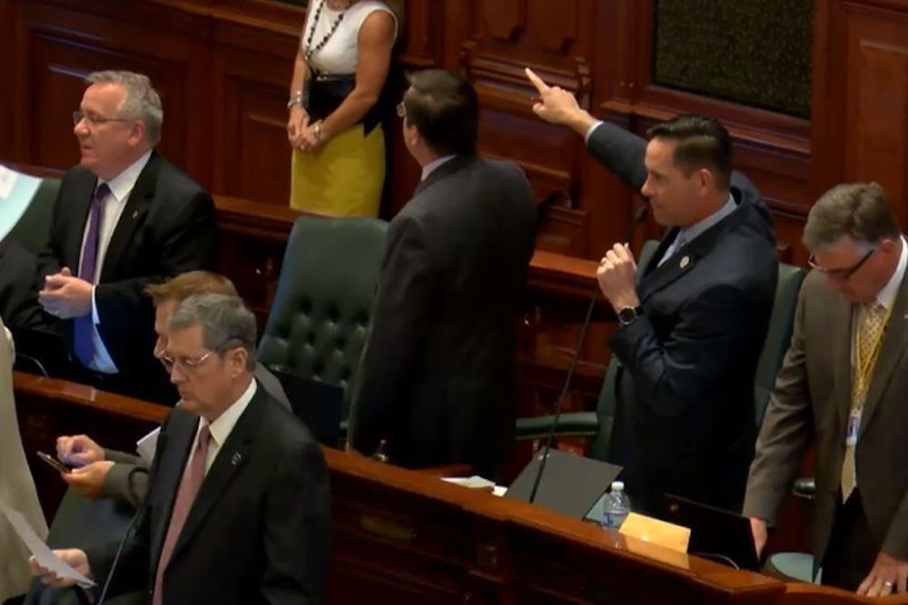 Rep. Tim Butler (R-Springfield) introducing guests during the May 29 House floor debate