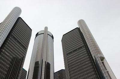 General Motors' headquarters at the Renaissance Center in Detroit, Michigan.
