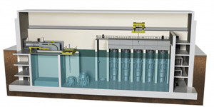 An artist's rendering of a cross-section from a small modular reactor design
