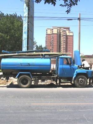 Large tanker truck blue side