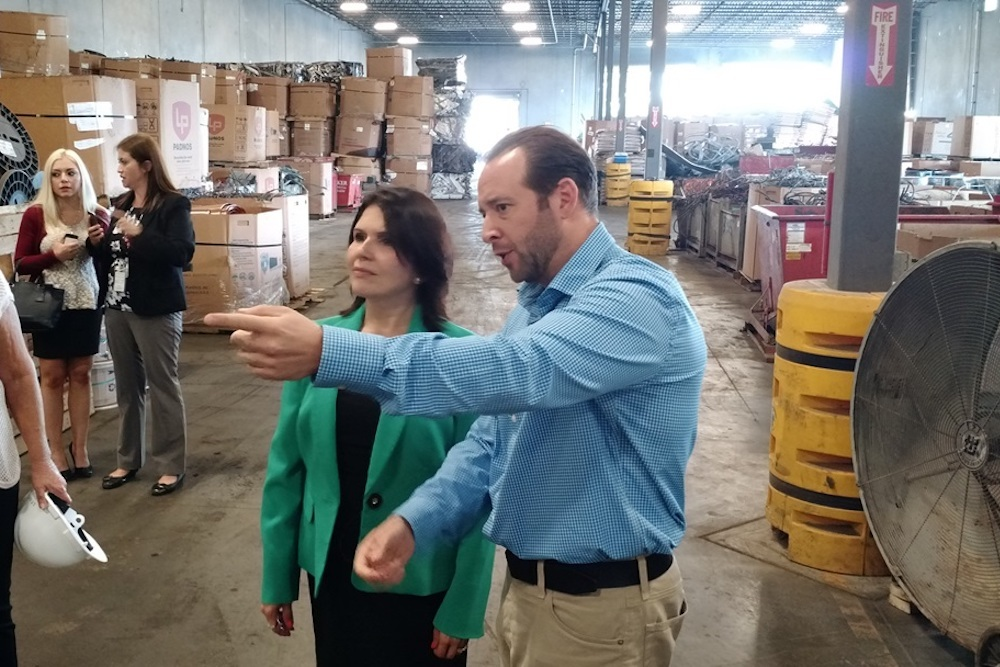 Lt. Governor Evelyn Sanguinetti touring Becker Iron & Metal in honor of Labor Day.
