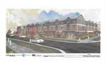 An architectural rendering of proposed affordable housing that was approved by the Board of Trustees.