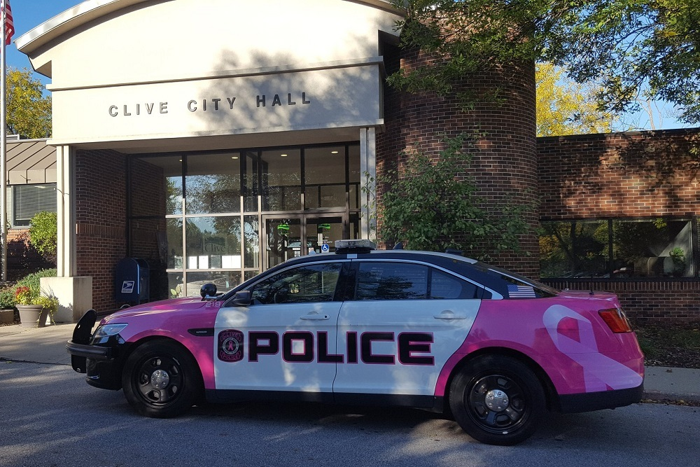 Clive Police Department's pink patrol vehicle.