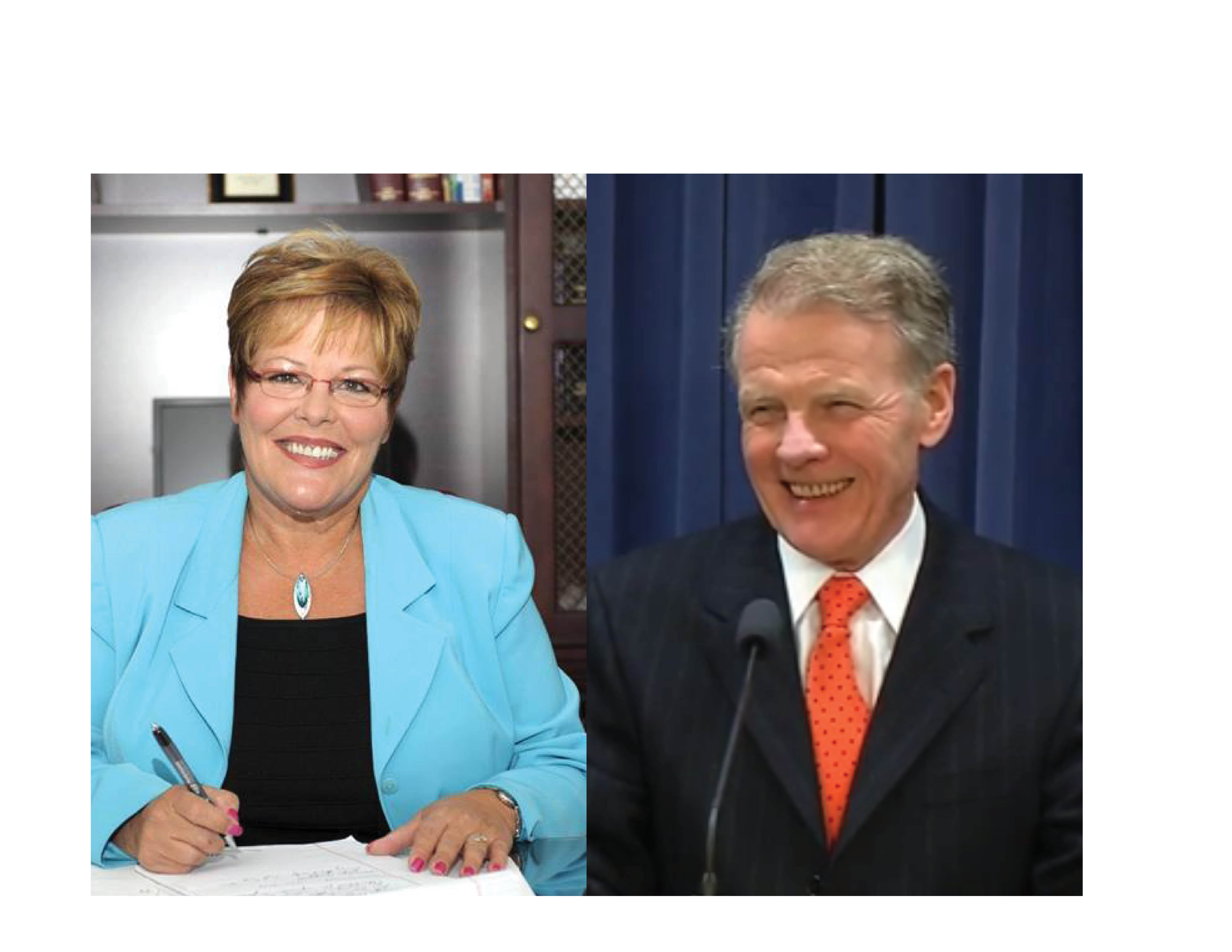 Lisa Dugan (left) and Michael J. Madigan (D-Chicago) (Right).