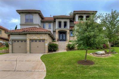 This custom home boasts beautiful views.