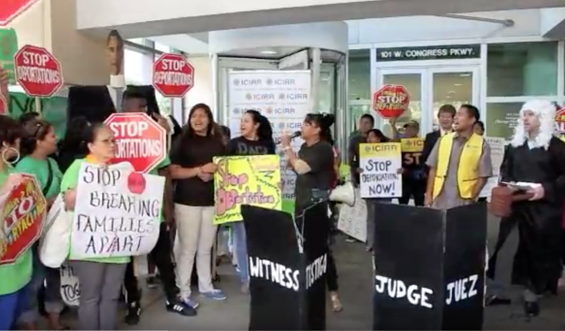 The state-funded Illinois Coalition for Immigrant and Refugee Rights protests President Obama's deportations of criminal aliens in 2014. The group is backing a measure that would allow illegal aliens to become lawyers in Illinois.