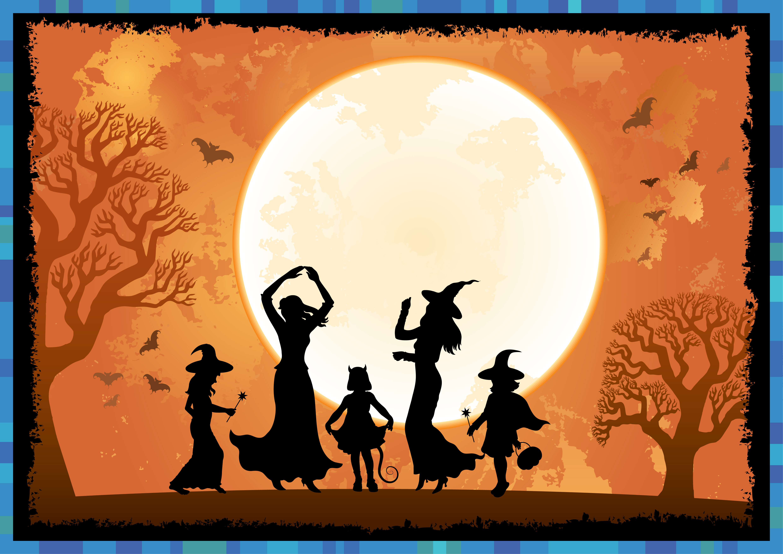 Shutterstock halloween silh toon scene