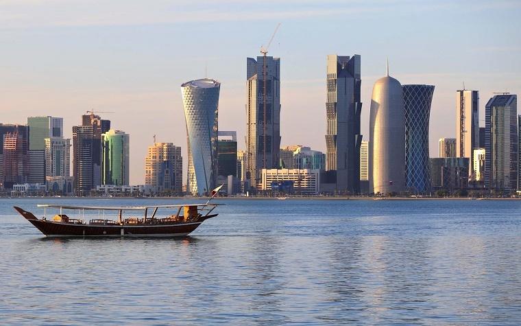 The skyline of Doha, Qatar.