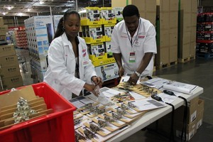 Pharmacists taking part in a medicine dispensing exercise set up a screening station at a Virginia Costco.