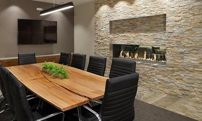 Linear fireplaces are a hot trend for upscale modern homes.