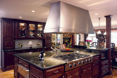 Wood elements and statement hoods are a big trend for 2018.