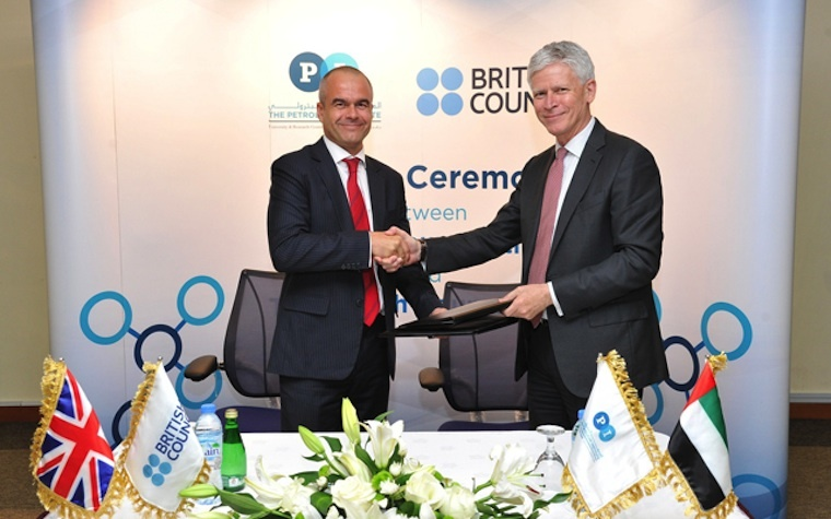 Marc Jessel, left, of the British Council and Thomas Hochstettler, president of the Petroleum Institute University and Research Centre