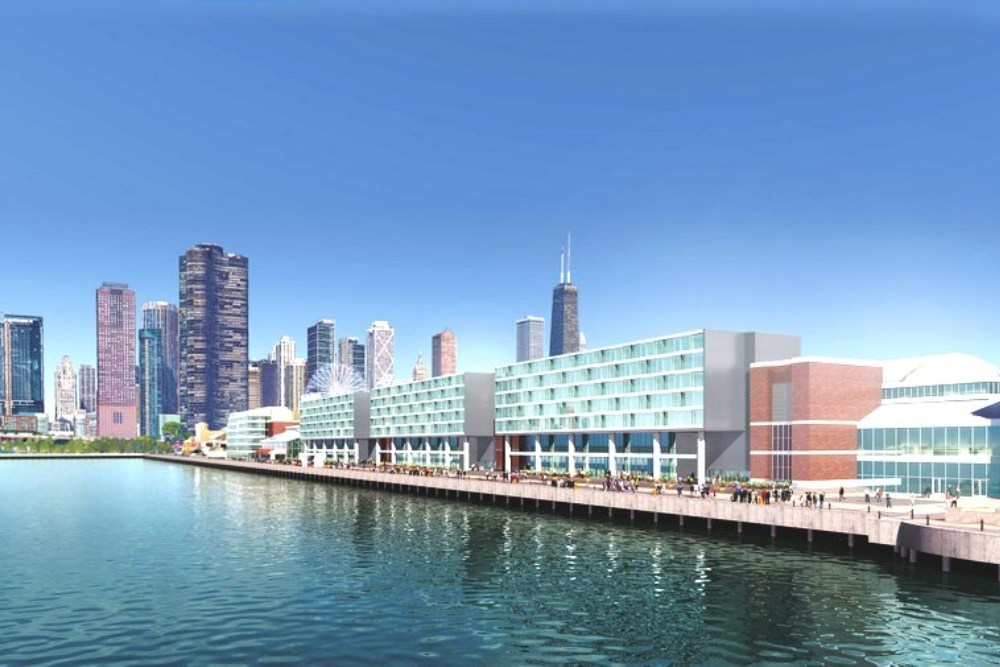 The Navy Pier Hotel will offer panoramic views of Chicago and Lake Michigan.