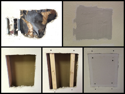 For a small hole, a patch may be enough to cover drywall damage.