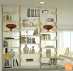An open-backed bookshelf can be used as an interesting room divider.