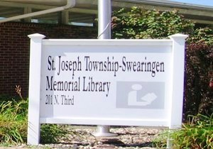 St jos swearg library sign