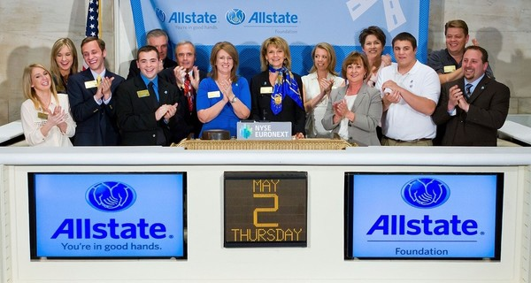 Large allstate closing bell photo