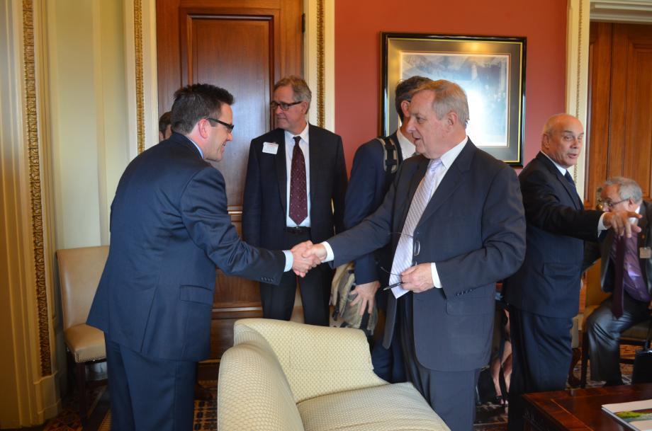 U.S. Sen. Dick Durbin (D-IL), right, meets with Will County Board members last week in Washington, D.C.