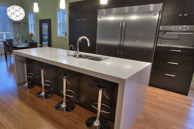 Quartz is the up-and-coming choice for material in high-end countertops.