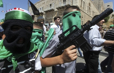 Palestinian Hamas supporters in Hebron
