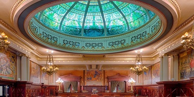 Stained glass green dome in the Supreme Court Chamber in the Pennsylvania State Capitol building.