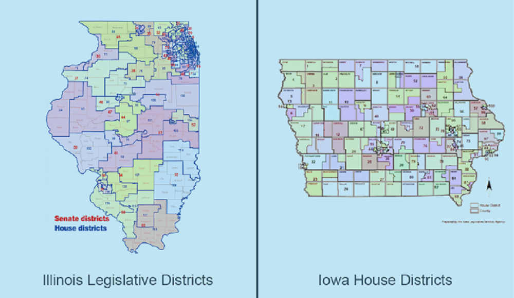 A comparison of the legislative districts in Illinois and Iowa