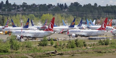 Boeing MAX airliners grounded in April 2019 in a Boeing lot near Seattle.
