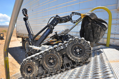 Bomb-disposal robots like this one practiced with their human masters at Sandia National Laboratories' Robot Rodeo this week.