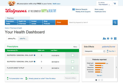 PatientsLikeMe data on prescription drugs can be found at www.walgreens.com.