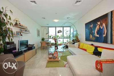 The furnished living room in the two bedroom two bathroom apartment now available in Zig Zag Tower